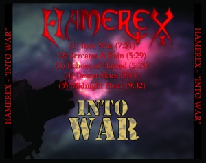 Rear cover with tracklist for Hamerex' Into War EP